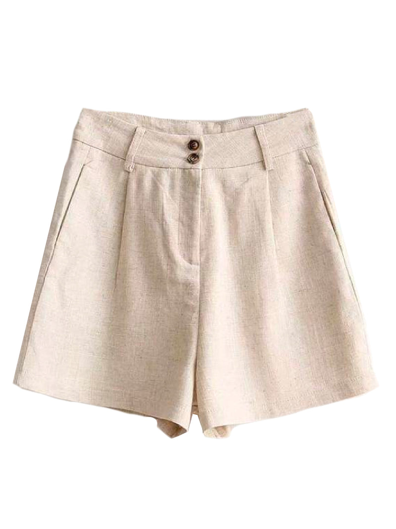 Goodnight Macaroon 'Brooke' Smart Linen Shorts Product Beige Front