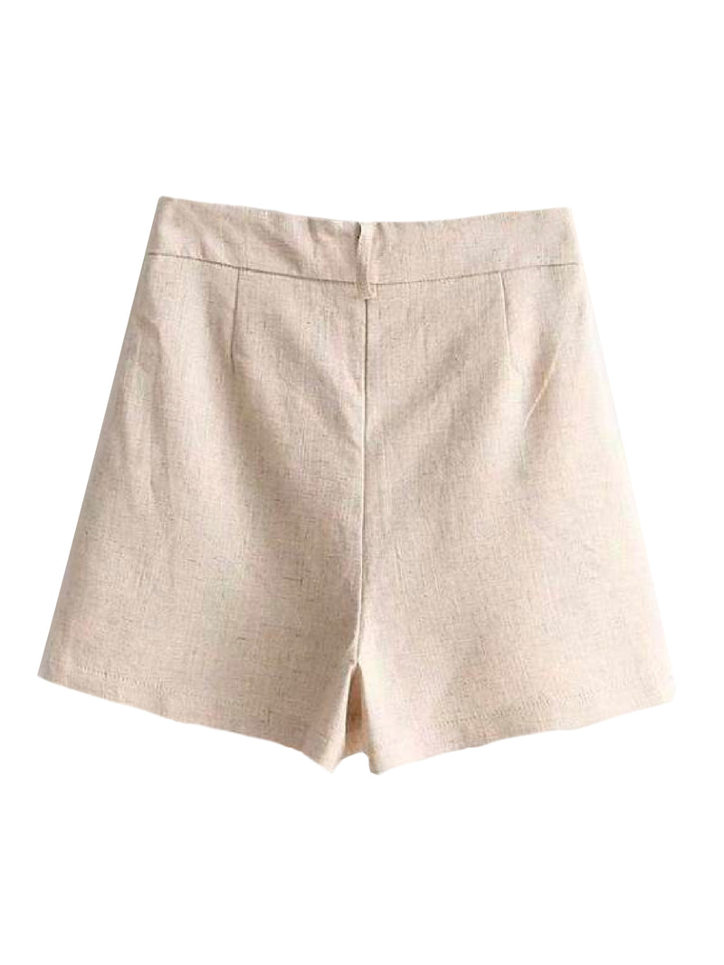 Goodnight Macaroon 'Brooke' Smart Linen Shorts Product Beige Back