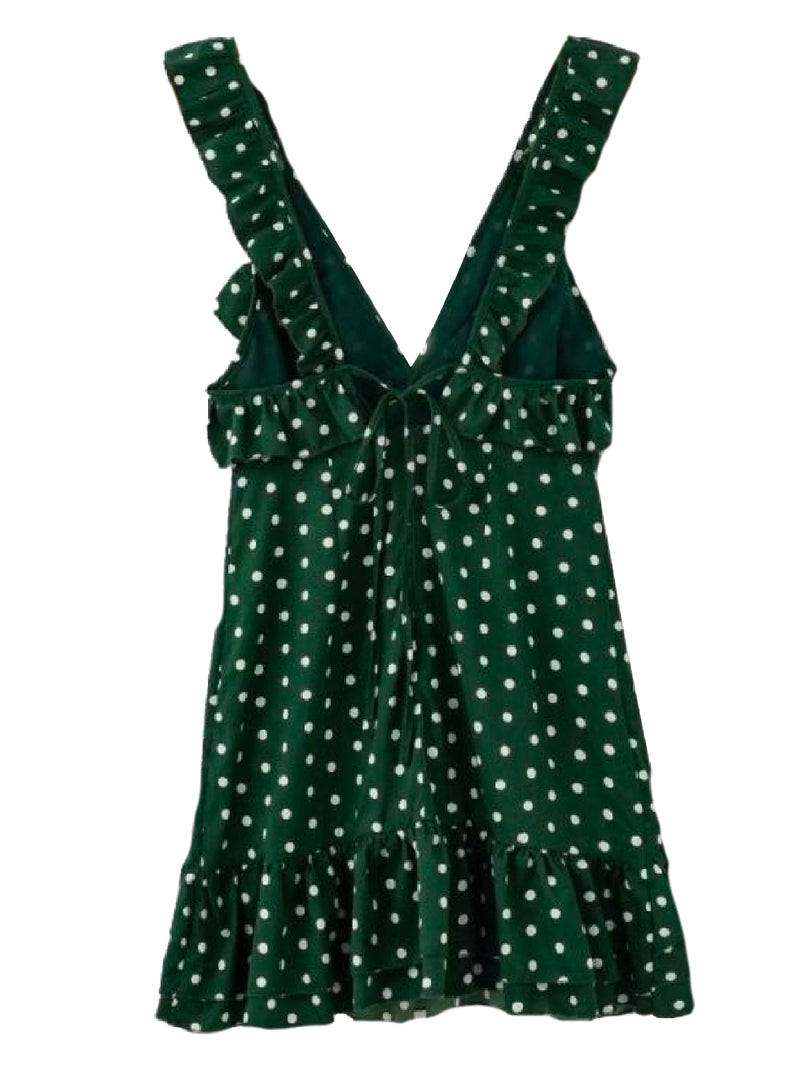 Goodnight Macaroon Poppy Polka Dot Ruffle Flare Mini Dress Green Product Back