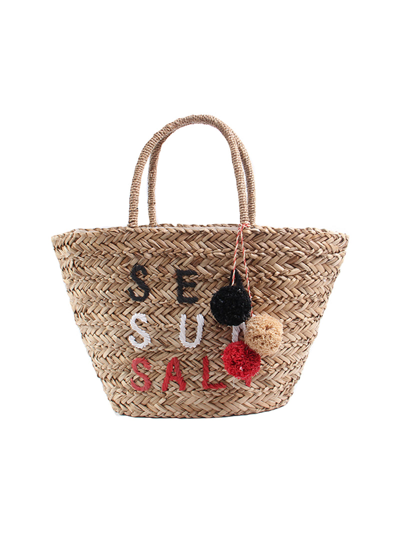 'Sea Sun Salt' Rattan Pom Pom Bag