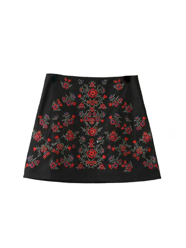 'Polly' Embroidered Denim Skirt