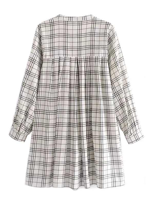 'Sadelle' Embroidered Plaid Open Dolly Dress