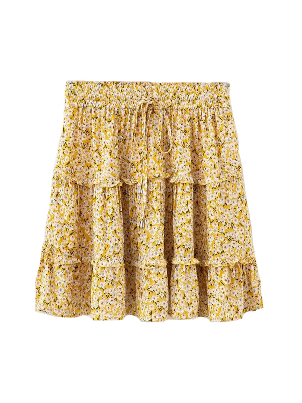 'Lammy' Ruched Floral Frill Mini Skirt