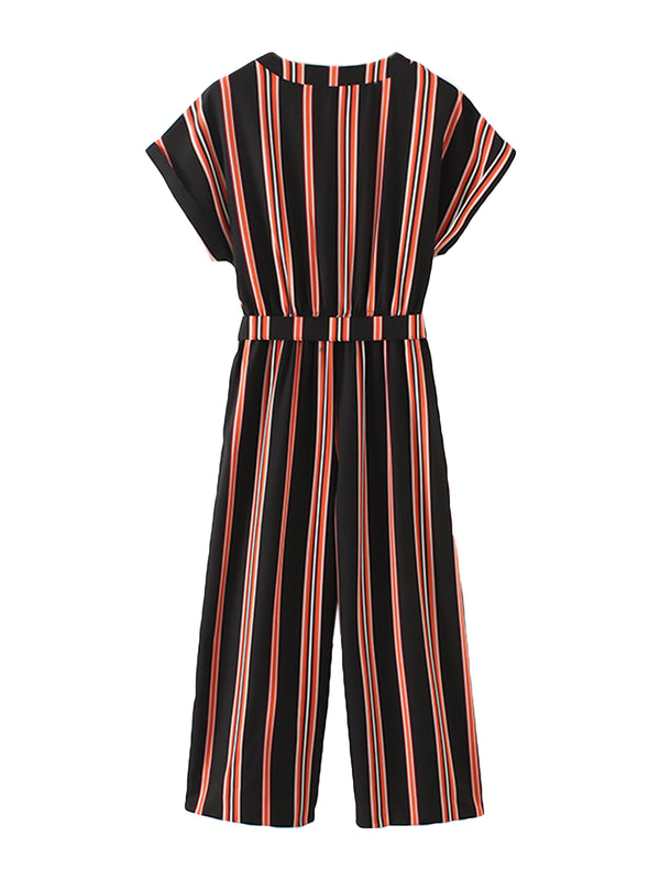 'Pepe' Retro Belted Striped Jumpsuit