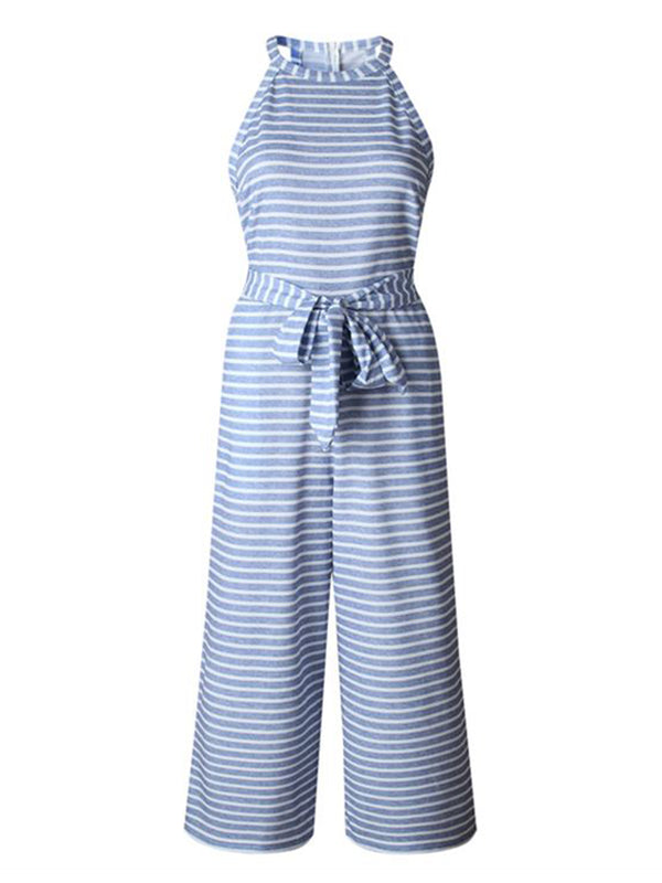 'Roddy' Striped Halter-neck Belted Jumpsuit (4 Colors)