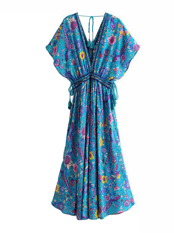 'Ambie' Floral Tassel Maxi Beach Dress