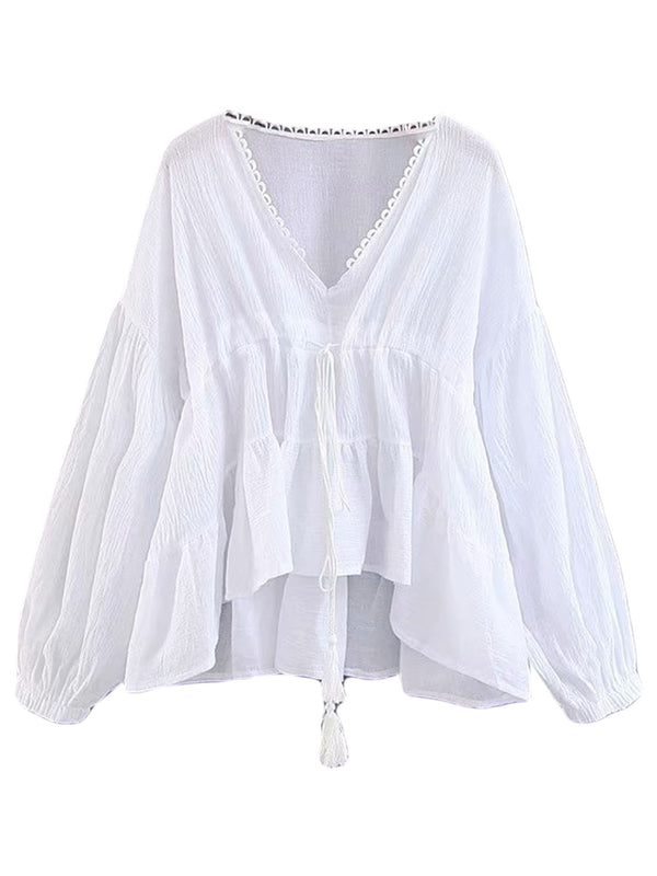 'Erin' Lace Tassel Tied Slouchy Top