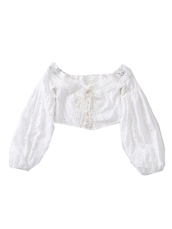 'Helena' Crochet Lace-up Cropped Top (2 Colors)