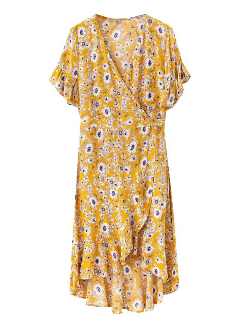 'Edo' Floral Wrap Frilly Maxi Dress (2 Colors)