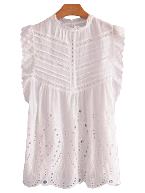 'Hadley' Crochet Frilly Sleeveless Top