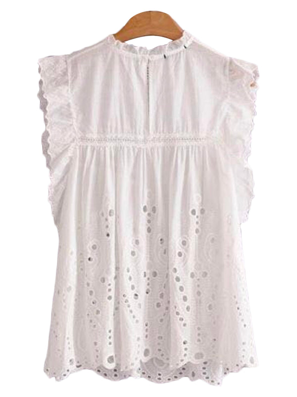 'Hadley' Broiderie Anglaise Eyelet Frill Sleeveless Top