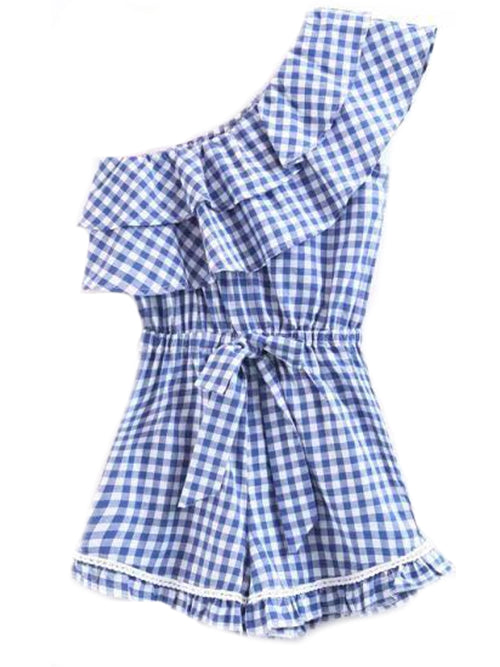 'Sawyer' Gingham Side Ruffle Rompers