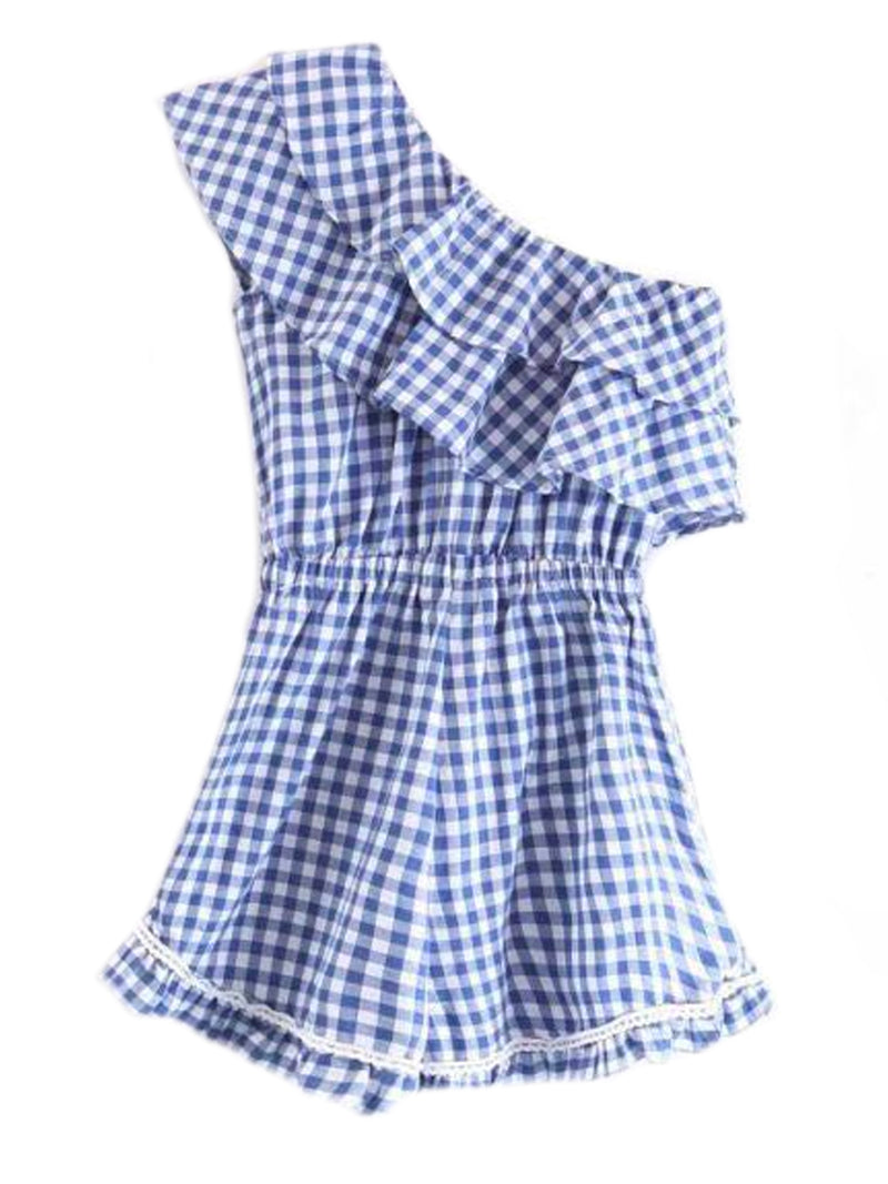 'Sawyer' Blue Gingham Single Shoulder Layered Ruffle Romper