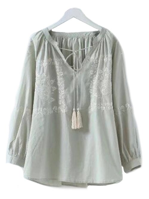 'Lillian' Embroidered Tassel Peasant Top