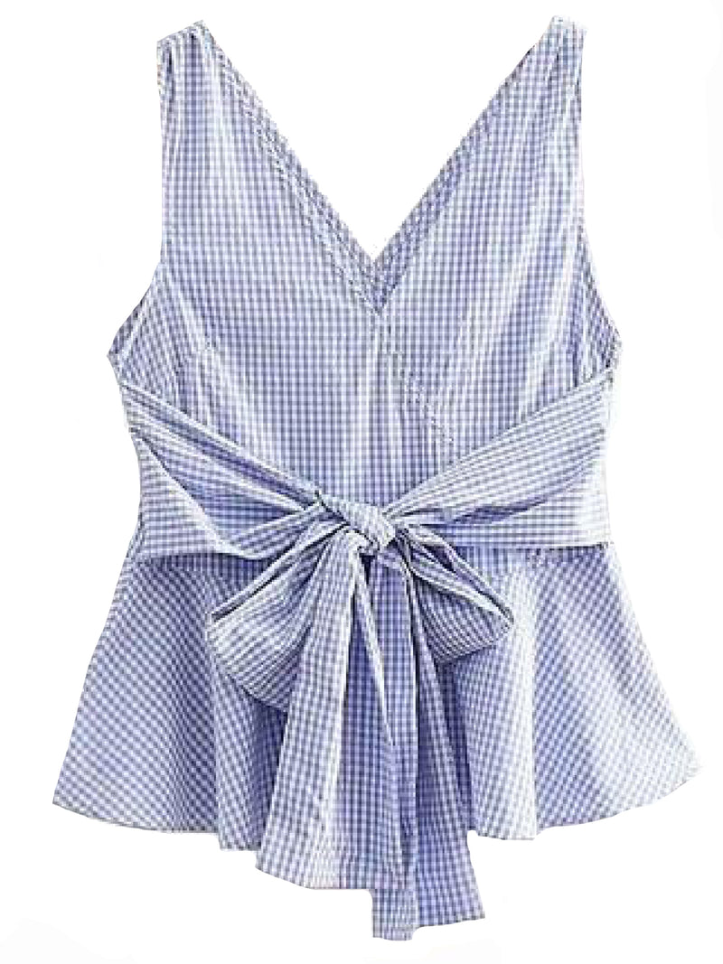 Goodnight Macaroon 'Reagan' Gingham Front Tied Sleeveless Flare Top Blue Front