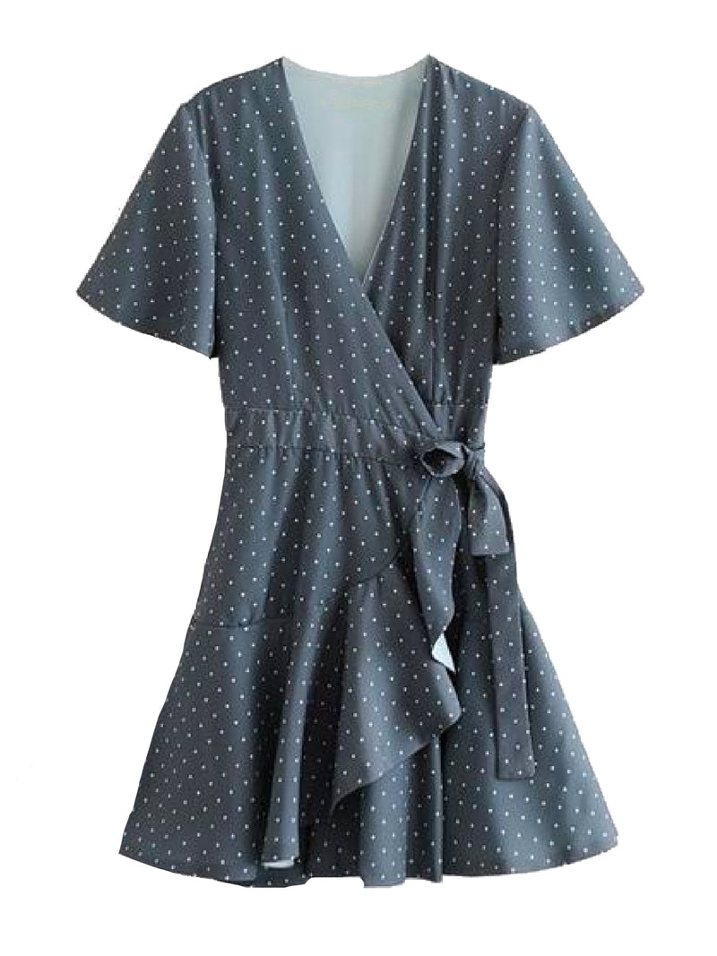 Goodnight Macaroon 'Ova' Polka Dot Ruffle Wrap Wrap Dress Front