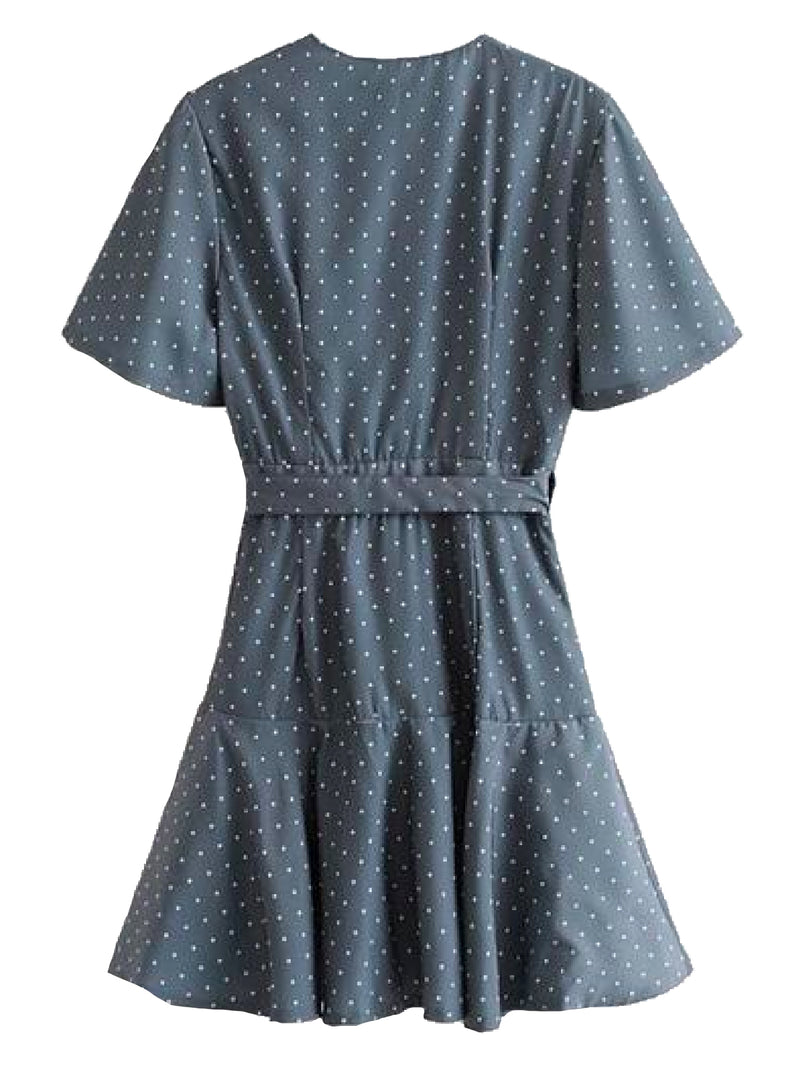 Goodnight Macaroon 'Ova' Polka Dot Ruffle Wrap Wrap Dress Back