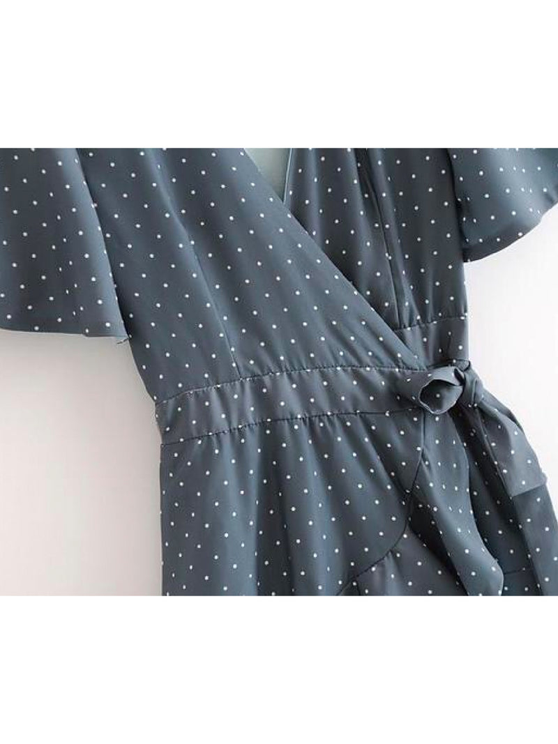 Goodnight Macaroon 'Ova' Polka Dot Ruffle Wrap Wrap Dress Waist