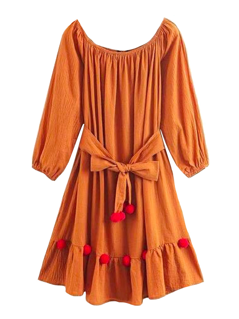 Goodnight Macaroon 'Paisley' Pom Pom Tied Front Flare Dress Orange Front