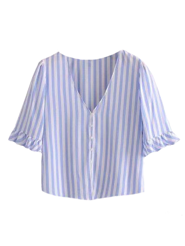 Goodnight Macaroon 'Kaley' Striped Ruffle Short Sleeved Top Blue Front