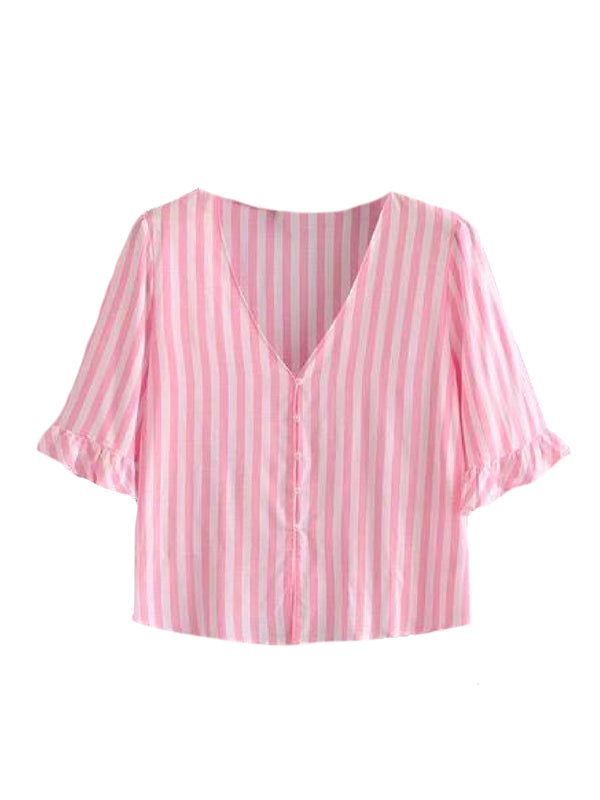 Goodnight Macaroon 'Kaley' Striped Ruffle Short Sleeved Top Pink Front