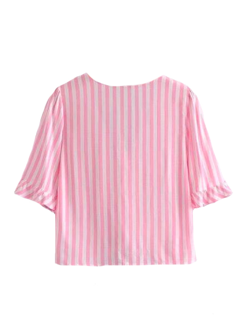 Goodnight Macaroon 'Kaley' Striped Ruffle Short Sleeved Top Pink Back