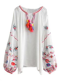 Goodnight Macaroon 'Yuri' Embroidered Tassels Tunic Top Front