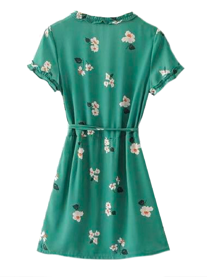 Goodnight Macaroon 'Kesha' Floral Green Frilled Wrap Dress Back