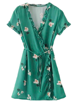 Goodnight Macaroon 'Kesha' Floral Green Frilled Wrap Dress Front