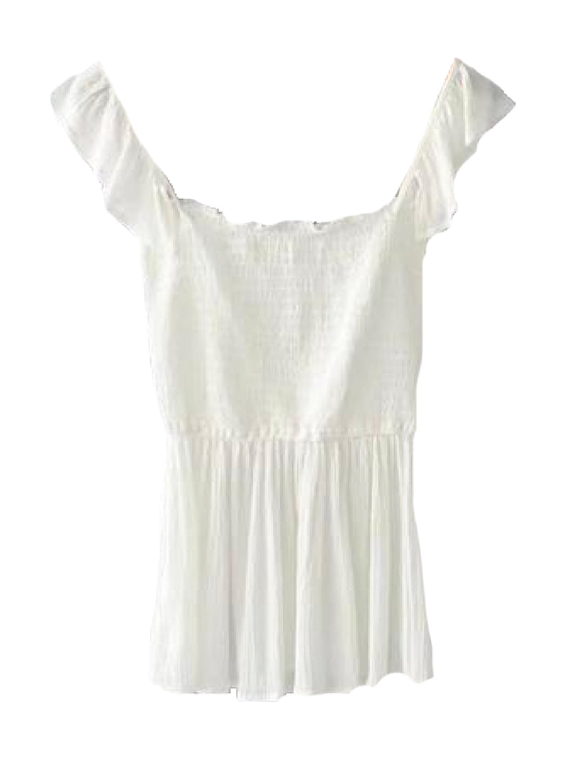Goodnight Macaroon 'Persis' Ruffle Ruched Peplum Top White Front