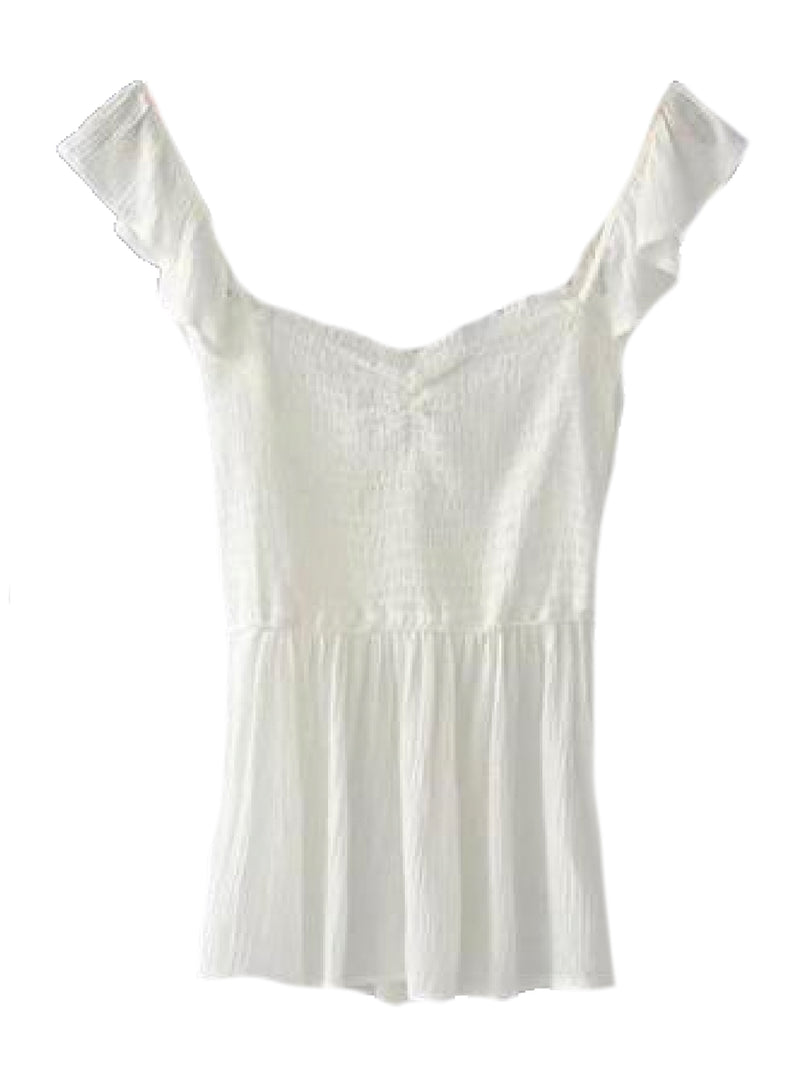 Goodnight Macaroon 'Persis' Ruffle Ruched Peplum Top White Back