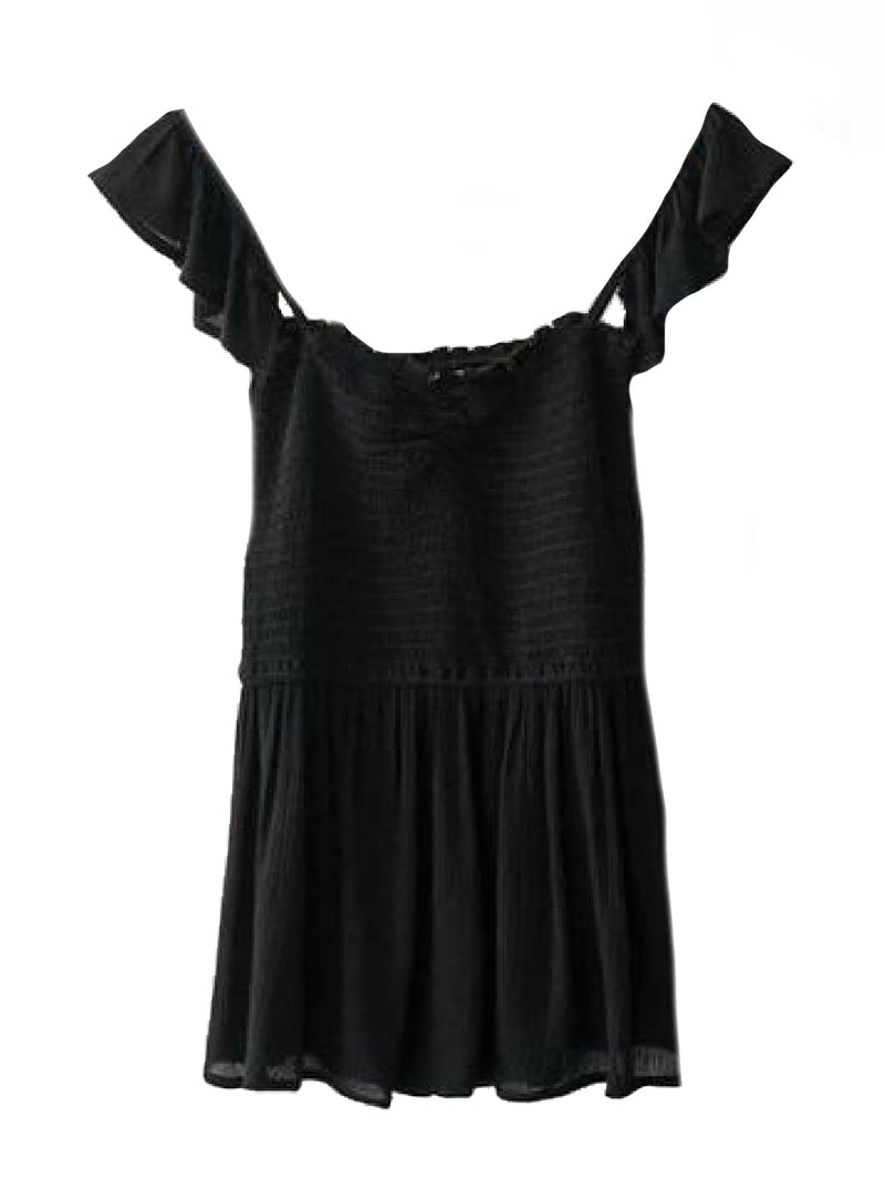 Goodnight Macaroon 'Persis' Ruffle Ruched Peplum Top Black Front