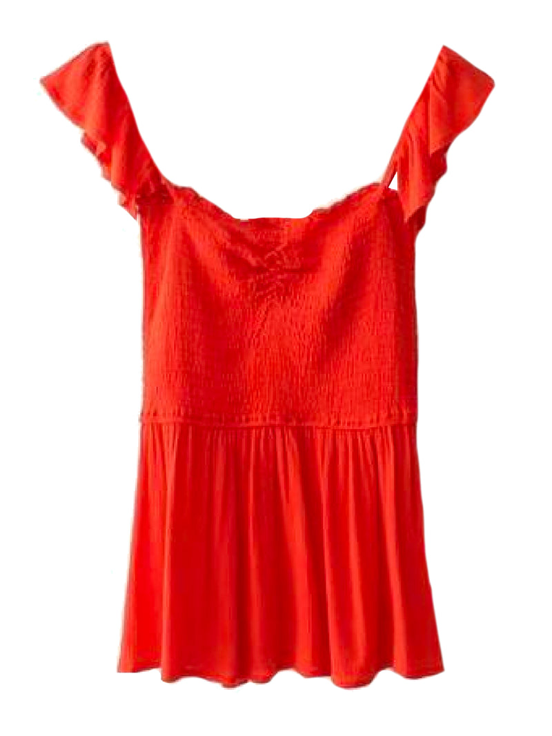 Goodnight Macaroon 'Persis' Ruffle Ruched Peplum Top Red Front