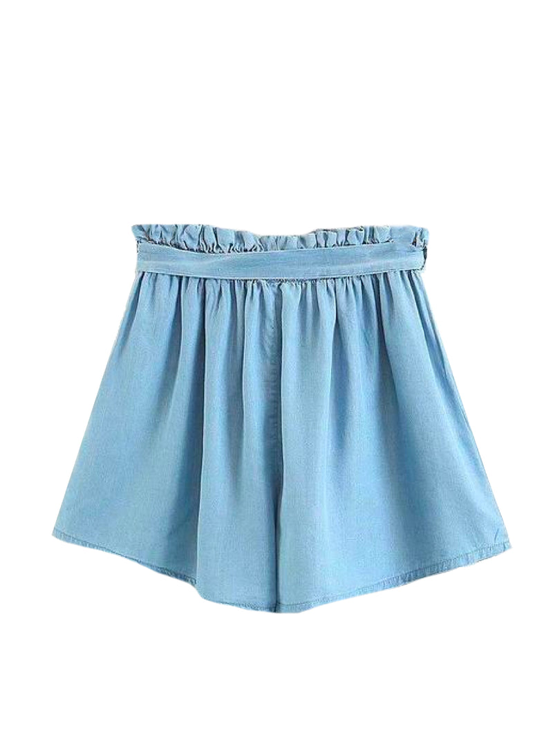 Goodnight Macaroon 'Macy' Tied Chambray Paper bag Shorts Back