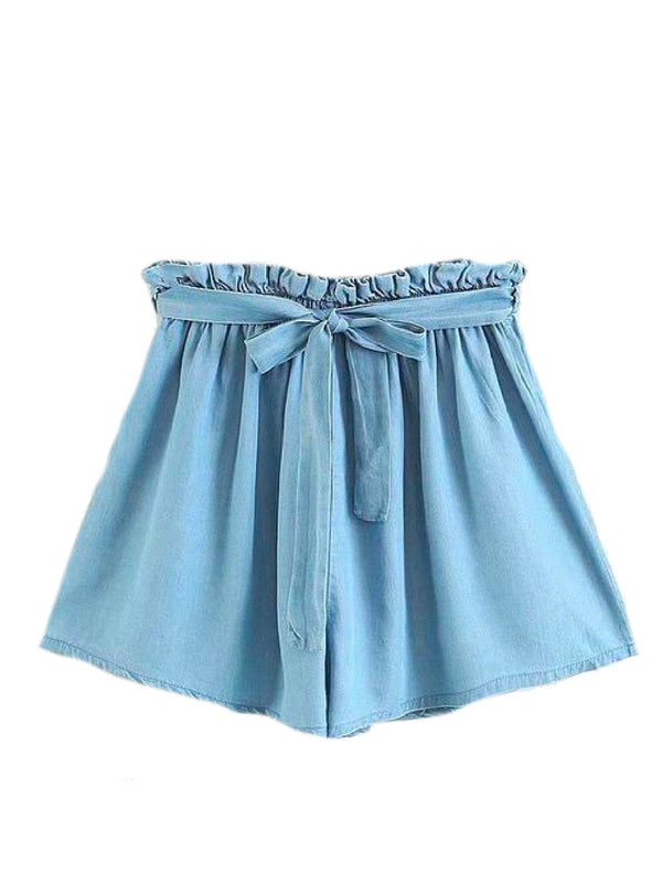 Goodnight Macaroon 'Macy' Tied Chambray Paper Bag Shorts Front