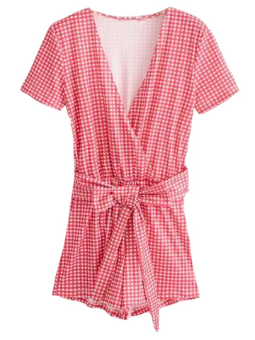 Goodnight Macaroon 'Sanit' Red Gingham Front Tied Romper Front