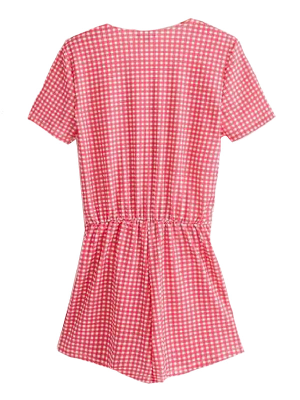 Goodnight Macaroon 'Sanit' Red Gingham Front Tied Romper Back