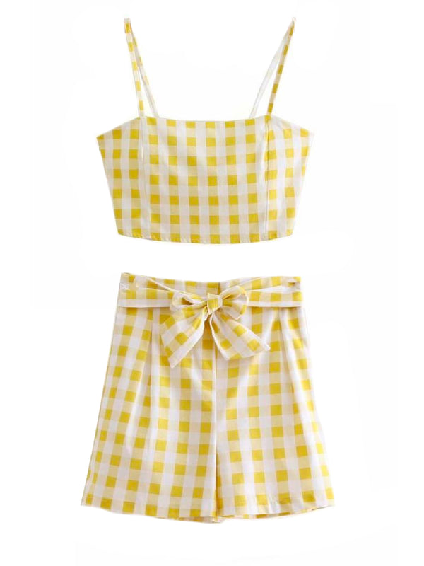'Vana' Yellow Gingham Co-ord Two Piece Set