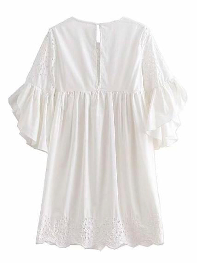 Goodnight Macaroon 'Pherity' Broderie Anglaise Flare Sleeve Babydoll Dress Back