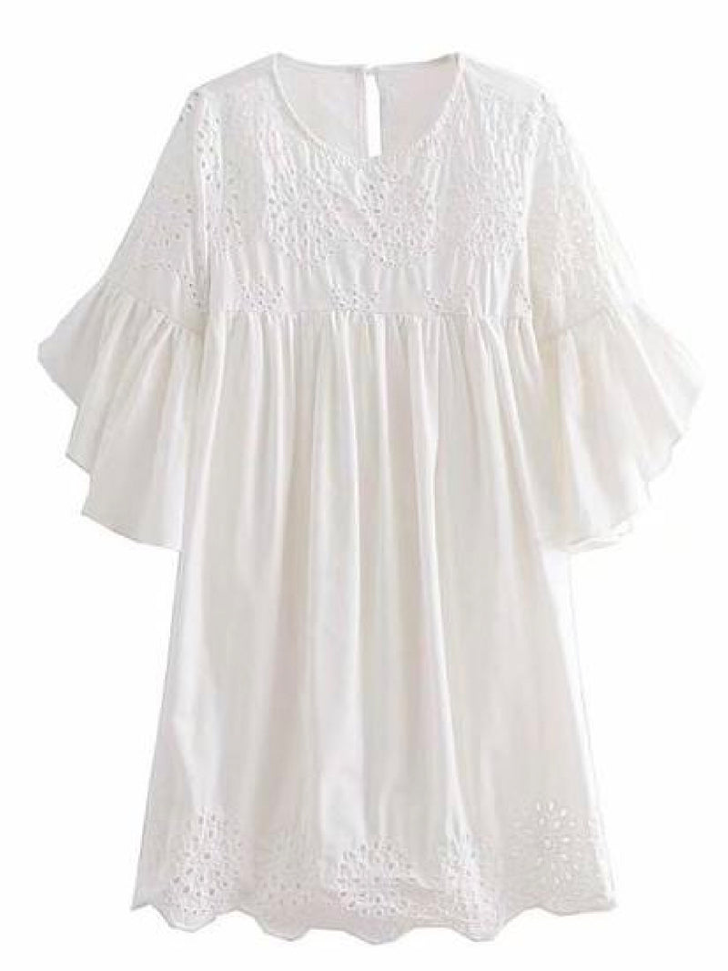 Goodnight Macaroon 'Pherity' Broderie Anglaise Flare Sleeve Babydoll Dress Front