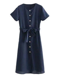 Goodnight Macaroon 'Leandra' Navy Blue Button Front Waist Tied Midi Dress Front