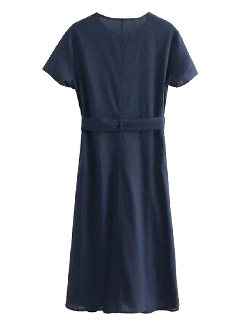 Goodnight Macaroon 'Leandra' Navy Blue Button Front Waist Tied Midi Dress Back