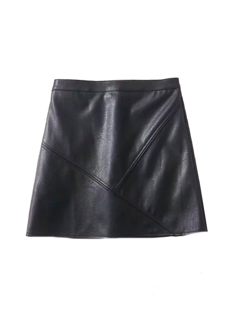 Goodnight Macaroon 'Peyton' Faux Leather Mini Skirt Black Front