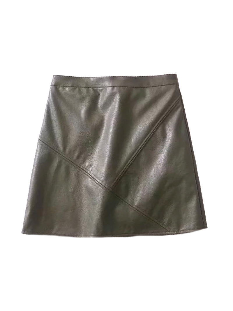 Goodnight Macaroon 'Peyton' Faux Leather Mini Skirt Green Front