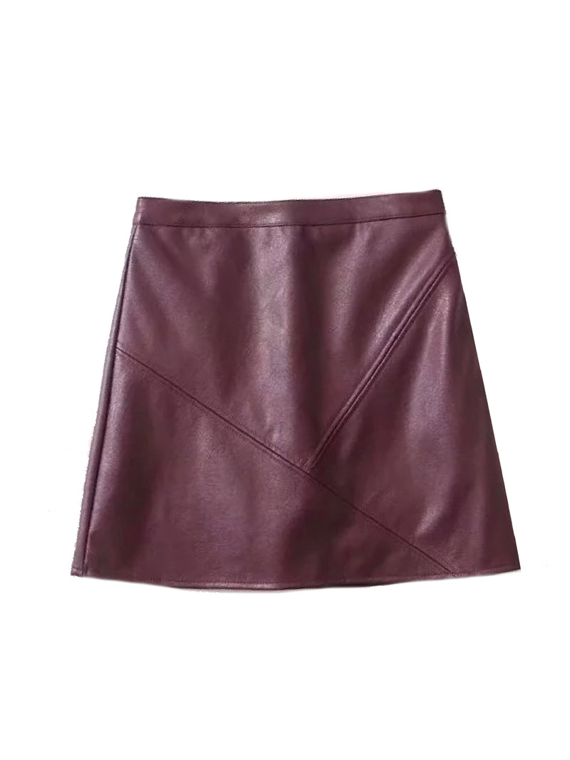 Goodnight Macaroon 'Peyton' Faux Leather Mini Skirt Red Front