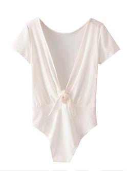Goodnight Macaroon 'Maggie' Back Tied Bodysuit White Back