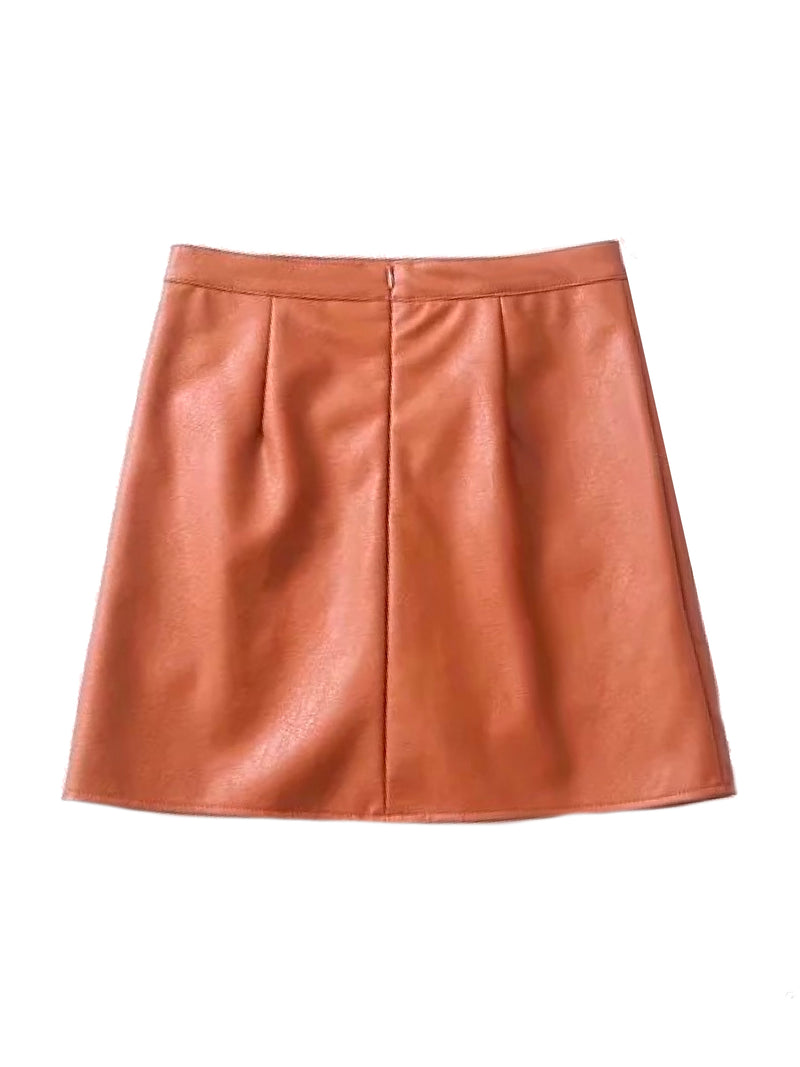 Goodnight Macaroon 'Peyton' Faux Leather Mini Skirt Orange Back