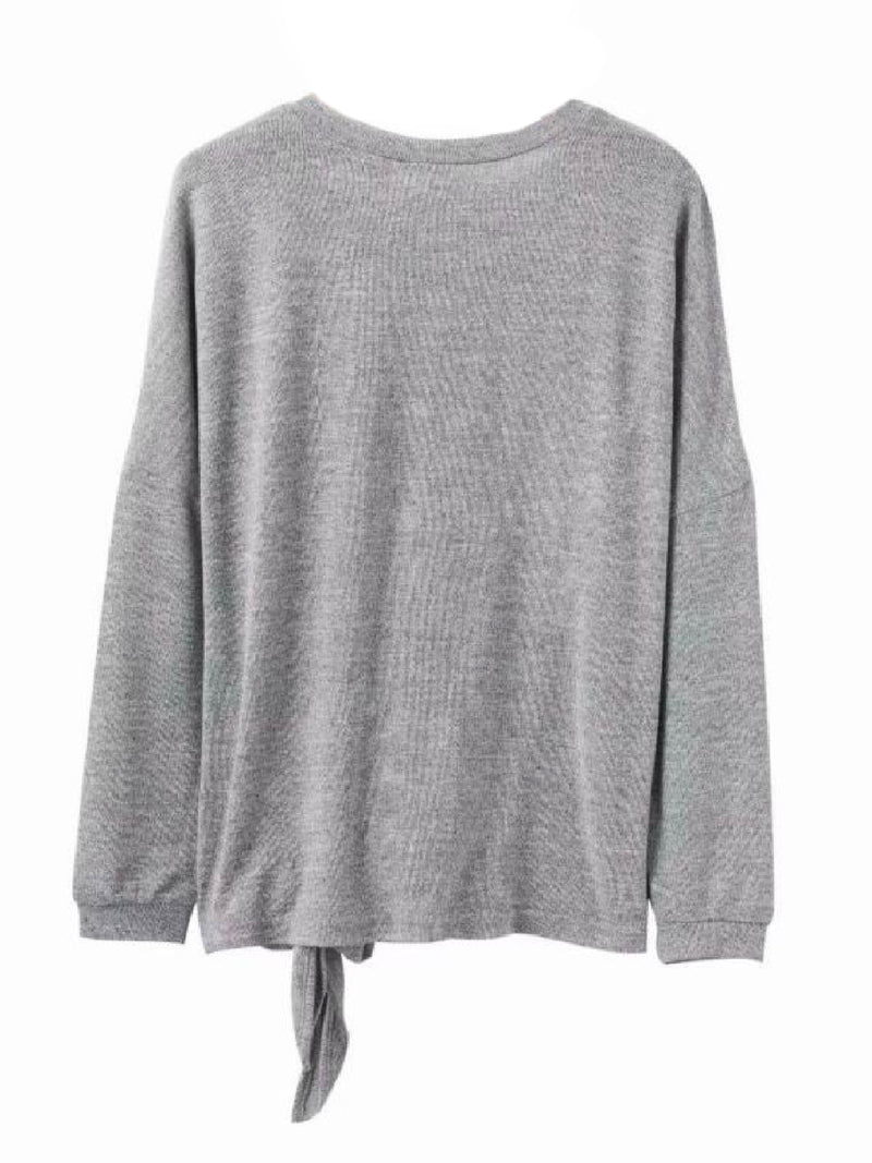 Goodnight Macaroon 'Mckinley' Grey Tied Bow Sweater Back
