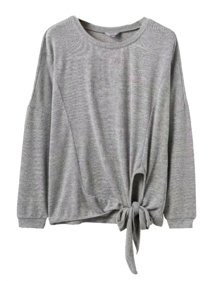 Goodnight Macaroon 'Mckinley' Grey Tied Bow Sweater Front