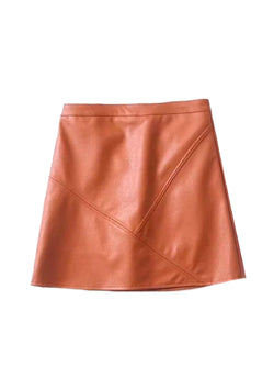 Goodnight Macaroon 'Peyton' Faux Leather Mini Skirt Orange Front